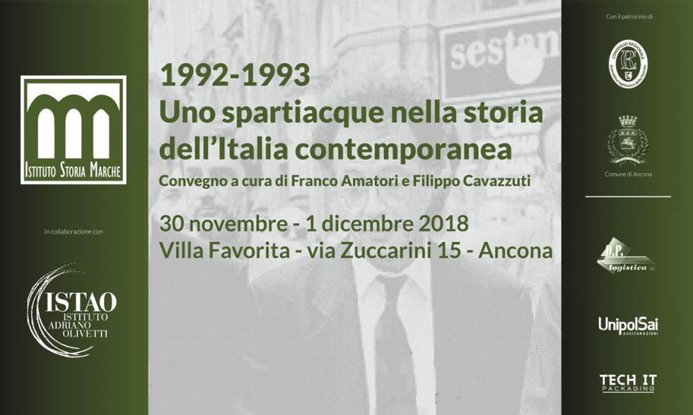 """Convegno """"1992-1993. Uno spartiacque nella storia dell'Italia contemporanea"""""""