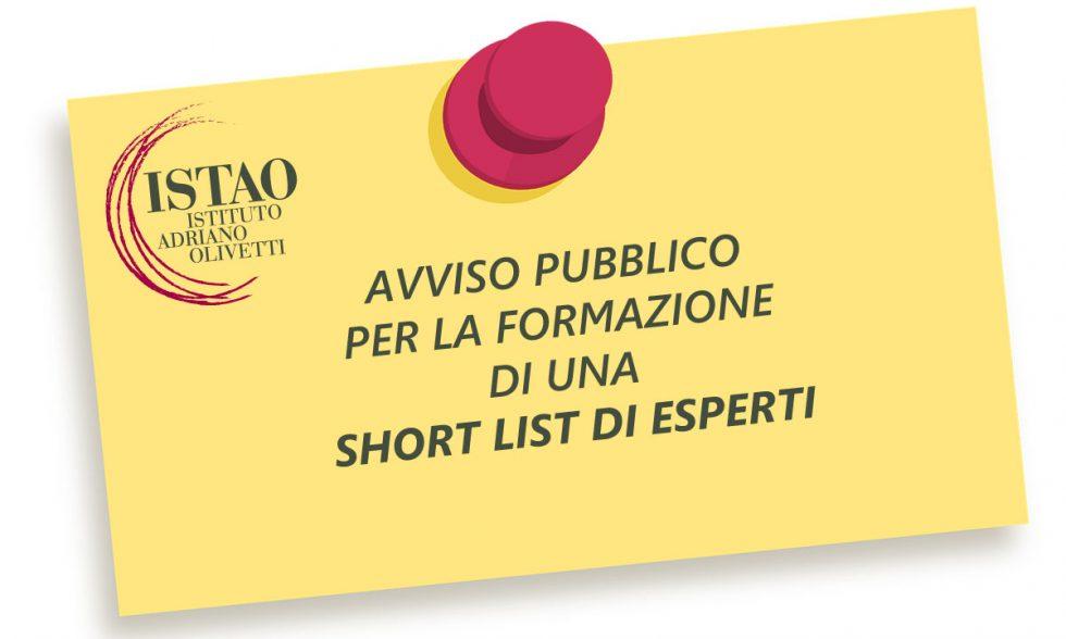 Avviso pubblico per la formazione di una short list di esperti