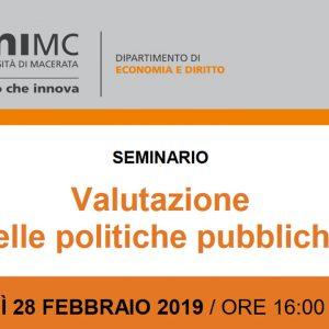 Seminario. Valutazione delle politiche pubbliche