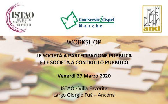 """RINVIATO Workshop """" Le società a partecipazione pubblica e le società a controllo pubblico"""""""